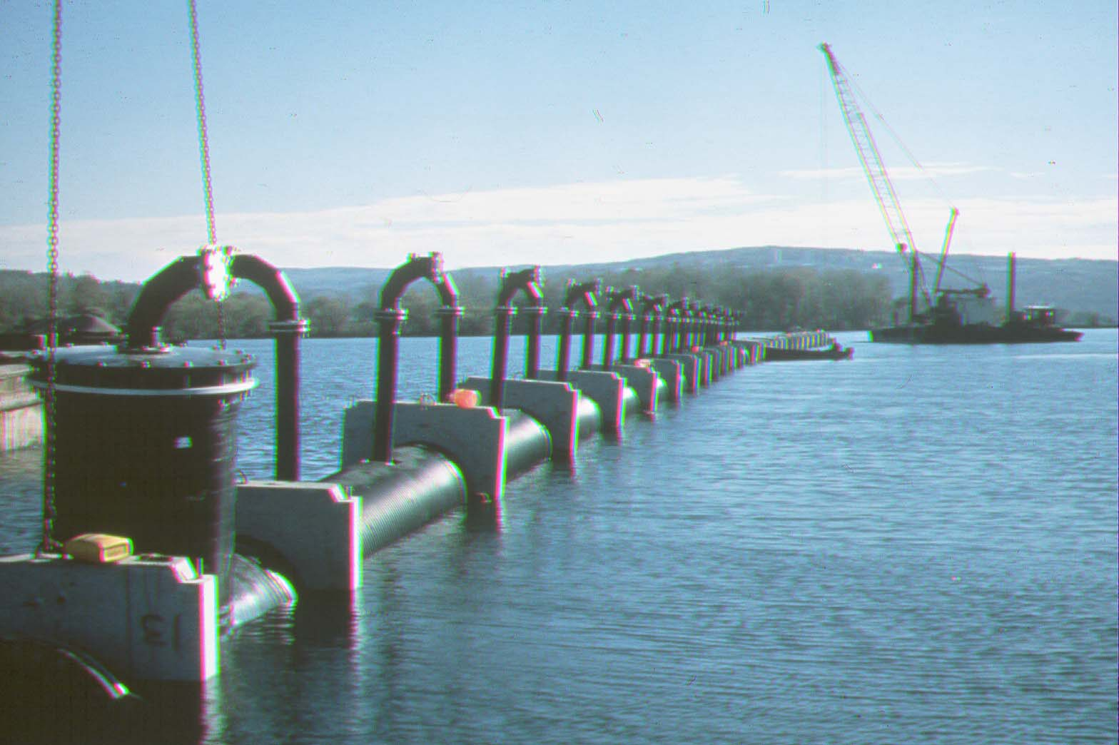 Multiport diffuser under construction on Lake Cayuga, New York.