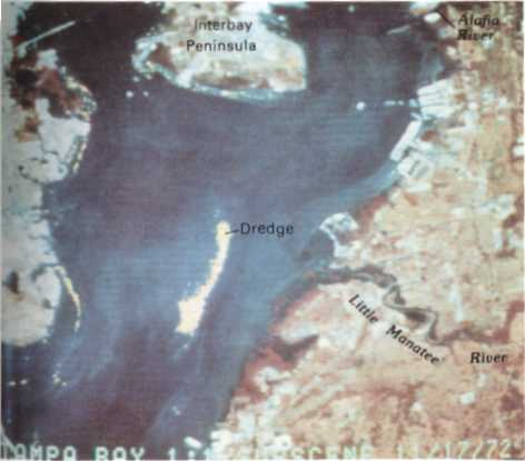 remote sensing image of a continuous dredge disposal sediment plume in Florida
